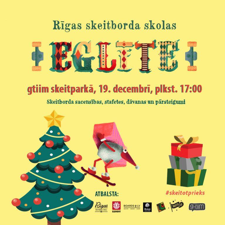 Rīgas Skeitborda skolas Eglīte 19. decembrī