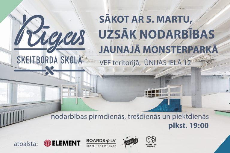 Rīgas Skeitborda Skola uzsāk nodarbības jaunajā Monsterparkā